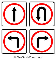 4 red circle traffic sign on white background