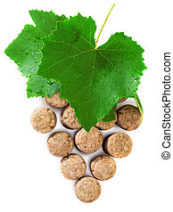 Wine concept over white background with wine corks and wine...
