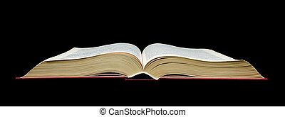 open book - black background - open book isolated on a black...