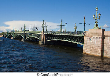 movable bridges on the River Neva. St. Petersburg. Russia.