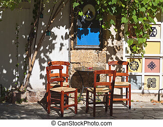 Old traditional coffee place at Hania city in Crete island,...