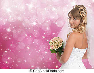 Beautiful bride Pink bokeh background