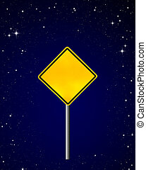 Blank yellow road warning sign on night sky