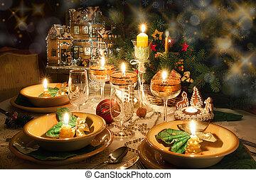 桌子, 晚餐, 聖誕節, 心情