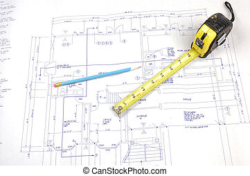 Building plans and tape measure - Set of Building plans and...