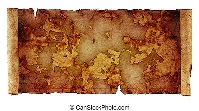 ancient scroll map - ancient scroll map, isolated on a white...