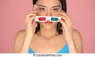 Woman wearing 3d glasses
