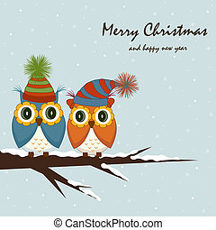 Christmas card. Owls on the tree
