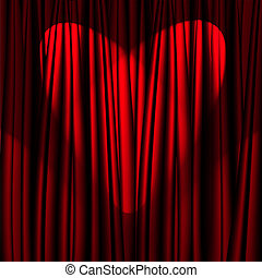 Heart Valentine's Day red theater curtain with a light...