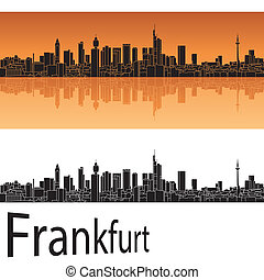 Frankfurt skyline in orange background in editable vector...