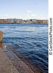 embankment of the Neva river. View of the city of St. Petersburg. Russia.
