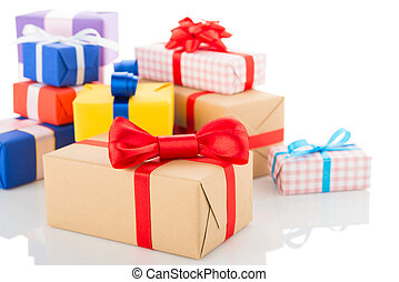 Gift boxes isolated on white background with reflection