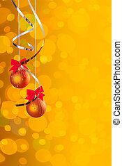 Cristmas background with balls on ribbon and festive,...