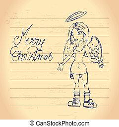 Cute christmas angel drawing