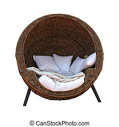 Rattan furniture seat isolated with clipping path included