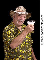 hombre, Fu, hombre, chu, bigote, sombrero, Margarita