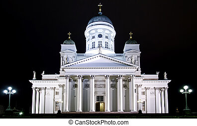 Night photos of Helsinki. Church on the Senate Square.