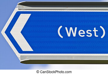 Sign Pointing West - Blue sign pointing west