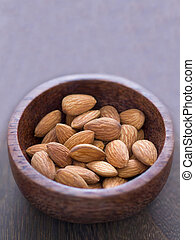 close up of a bowl of almonds