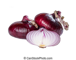 Red fresh onion - Red fresh sliced and whole onion isolated...