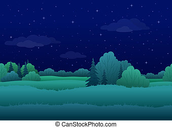 Seamless background, night landscape - Seamless background,...