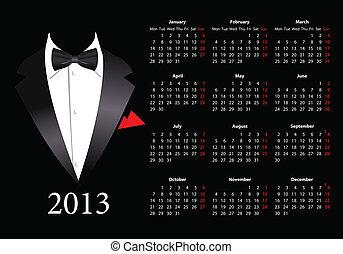 Vector European calendar 2013 with elegant suit - Vector...
