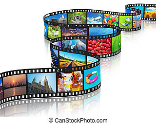 Streaming media concept: filmstrip with colorful photos...
