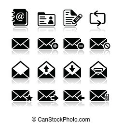 Email mailbox vector icons set - Modern black icons set with...