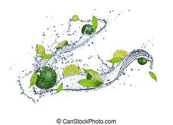 Fresh limes in water splash, isolated on white background