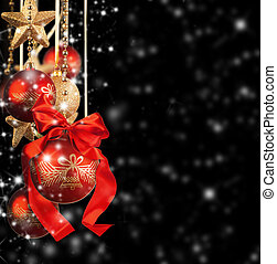 Christmas theme with red glass balls on black background