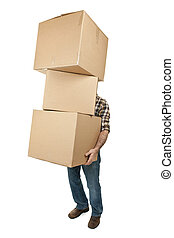 Man carrying stack of cardboard boxes