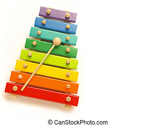 xylophone - a colorful, wooden xylophone with mallet over...
