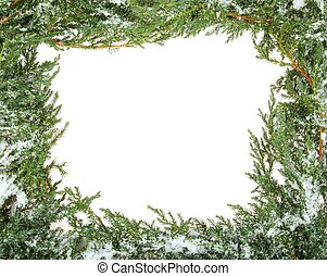 Green Christmas frame made of branch