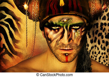 Man animal - Fashion stylized concept portrait of a young...