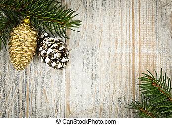 Natale, fondo, ornamenti, ramo
