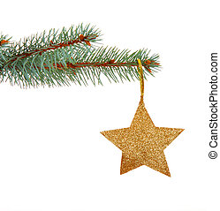 Christmas golden star on a christmas branch isolated on...