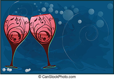 Wine glasses to toast - Wine glasses stylized to toast in...