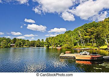 cabañas, lago, diques