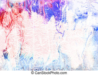 Vintage Christmas background: grunge backdrop with blue and white frosty patterns