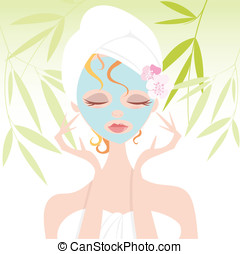 Girl and Face Mask Beauty Treatment - Pretty woman with eyes...
