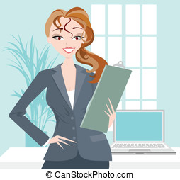Business Woman with Clipboard - Smiling confident business...