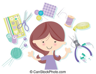 Happy Crafter with many crafts - Cute Girl juggling many...