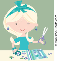 Happy Craft Girl - Cute female with crafting items such as...