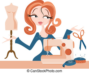 Fashion Designer - Woman with sewing machine and dressmaking