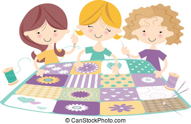 Sewing Bee with three Girls - Three girls sewing happily...