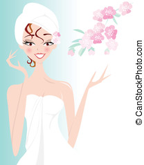 Spa Girl with Blossom - Pretty woman wrapped in towel with...