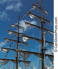 Sails on a wooden sailing boat