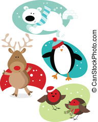 Christmas Fun Animals - Four different Christmas cute fun...