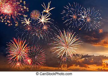 Fireworks with majestic clouds - Beautiful colorful holiday...