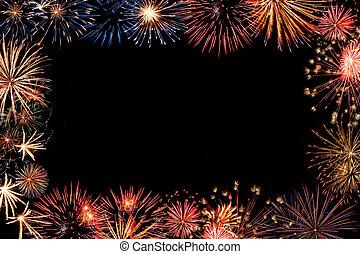 Holiday fireworks frame